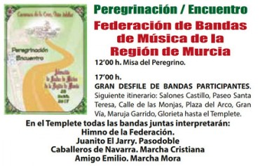 29th April Pilgrimage and gathering of musical bands Caravaca de la Cruz