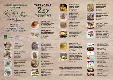 20th to 29th April, tapas route in Puerto Lumbreras