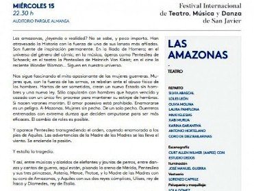 15th August Las Amazonas; Theatre at the San Javier Festival of Theatre