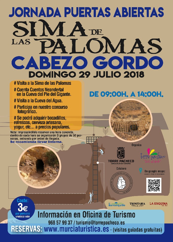JORNADA DE PUERTAS ABIERTAS A LA SIMA DE LAS PALOMAS DEL CABEZO GORDO EL 29 DE JULIO. A LAS 10:00 HORAS.
