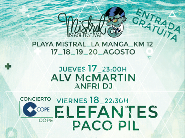 20th August: Free concert in La Manga del Mar Menor - Mistral Beach Festival