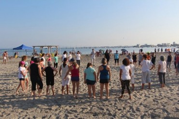 Free beach exercises, tai chi and pilates on the beaches of San Pedro del Pinatar summer 2019