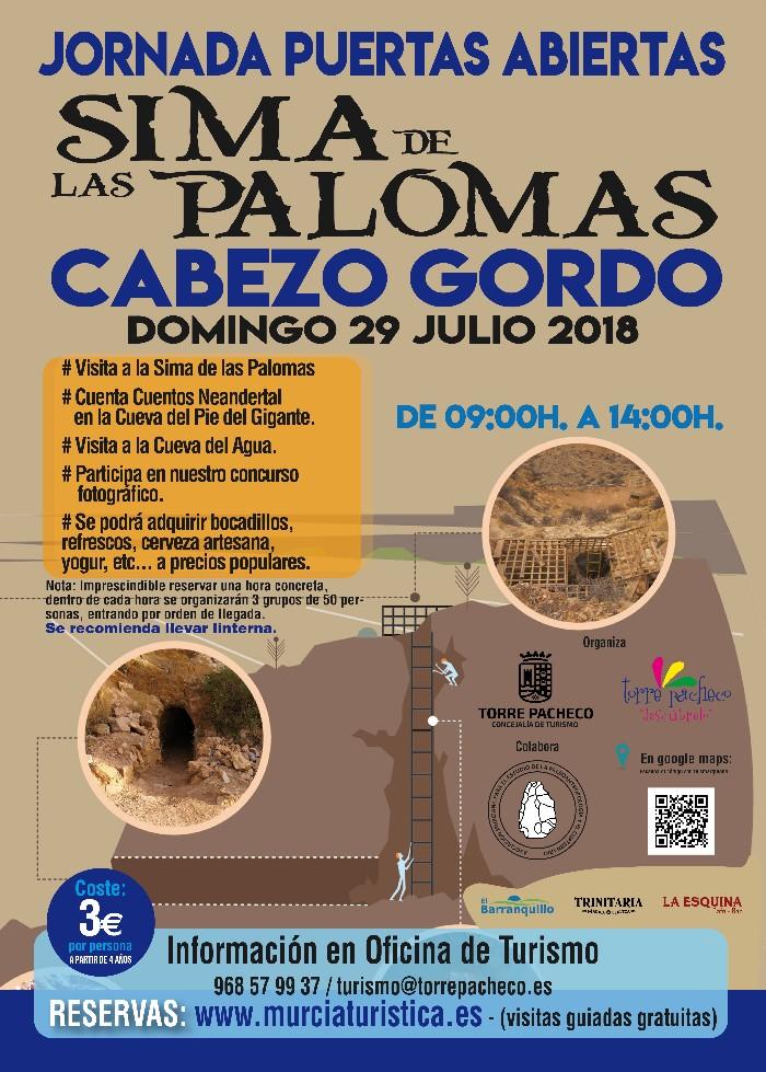 JORNADA DE PUERTAS ABIERTAS A LA SIMA DE LAS PALOMAS DEL CABEZO GORDO EL 29 DE JULIO. A LAS 11:00 HORAS.