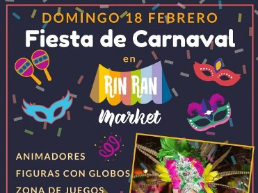 Sunday 18th February, live music, free workshops and Carnival fun at the Rin Ran market El Palmar
